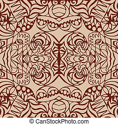 Brown art deco seamless pattern