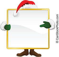 Santa behind Christmas sign - Santa standing behind a...
