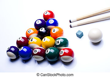 Billiard balls, pool - Billiard table and balls