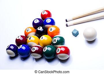Billiard balls, pool - Billiard table and balls