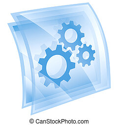 Tools icon blue square, isolated on white background