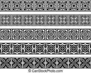 Set of five vector art deco borders