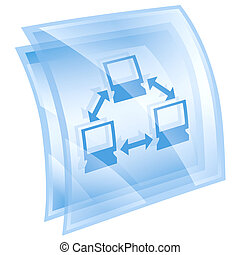 Network icon blue, isolated on white background