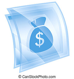 dollar icon blue, isolated on white background.