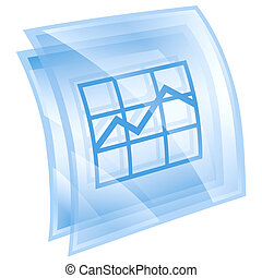 graph icon blue, isolated on white background.