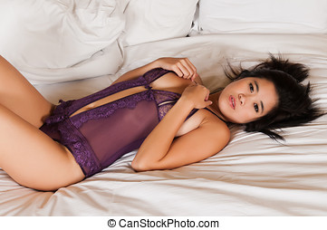 Purple lingerie - Pretty young Laotian woman in purple...