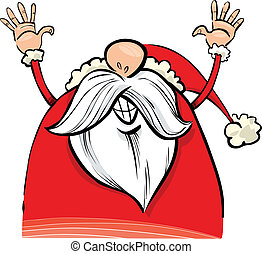 happy santa claus - cartoon illustration of happy santa...