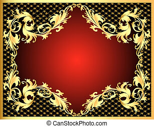 frame with gold(en) pattern with net - Illustration...