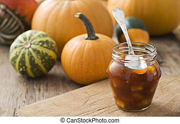 Pumpkin marmalade - Fresh pumpkin marmalade on wooden table...