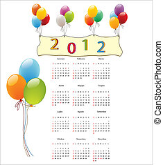 Calendar 2012 with clown and balloons