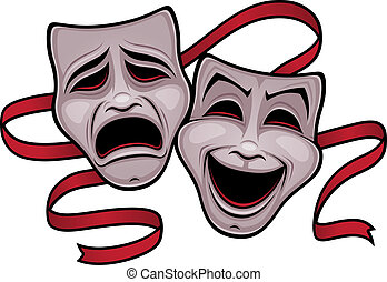 Comedy and Tragedy Theater Masks - Vector illustration of...