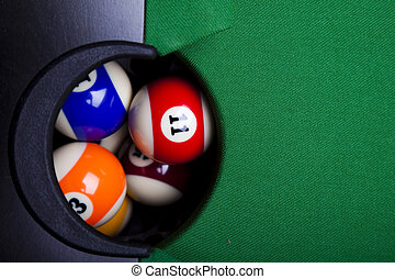 Billiard game - Billiard table and balls
