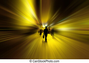 Urban motion concept. - Abstract style blurred golden light...