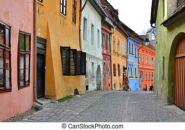 Medieval street view in Sighisoara, Transylvania, founded by...