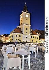 Brasov Council Square, night view in Romania