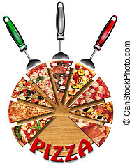 pizza, taglio, asse
