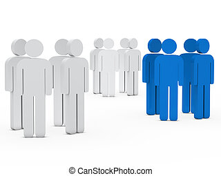 team people group white blue - 3d business team people group...
