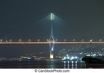Ting Kau Bridge at night in Hong Kong