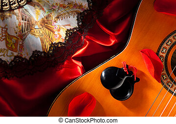 Castanets on Guitar - Castanets with Guitar, Hand Fan and...