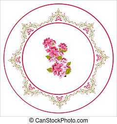 Plate with tiny blue flowers