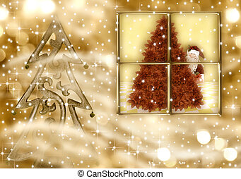Christmas greeting card, Santa Claus in the golden evening -...