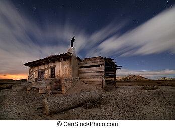 Shepherd hut at desert night near Pamplona, Spain