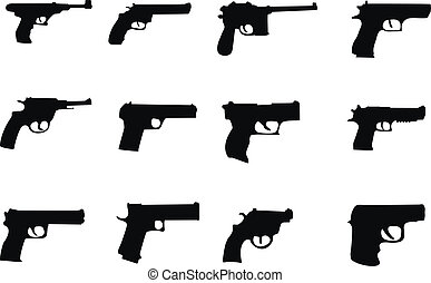pistols and revolver - set silhouette miscellaneous pistols...