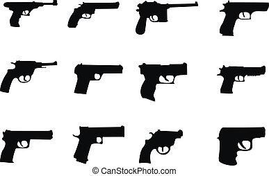 pistols and revolver - set silhouette miscellaneous pistols...
