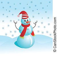 Cheerful snowman against snow
