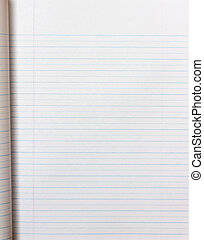 Lined paper in primary school notebook
