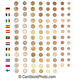 Euro coin money - Euro coins including both the...