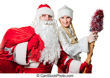 Russian Christmas characters father Frost and Snow Maiden -...
