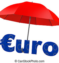 Euro bailout fund, red umbrella with the word euro