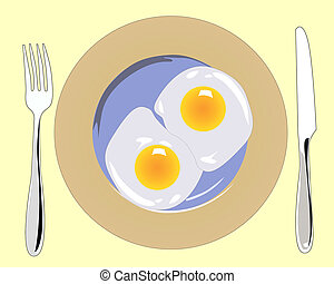 fork with a knife and a plate of scrambled eggs