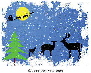 Christmas Santa Claus with reindeer