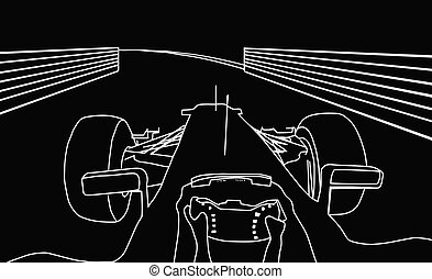 Silhouette F1 Cockpit View - Silhouette Drawing of F1 Racing...
