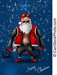 Santa Claus Biker - Santa Claus biker in front of his...