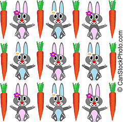Background with rabbits and carrots