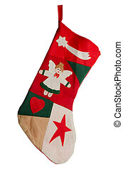 Christmas red stocking. Concept of christmas or holiday.