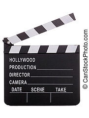 Movie clapper board on white background