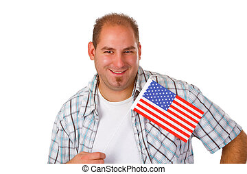 Young man holding American flag