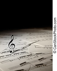Violin Key on the music sheets with black copy space, for...