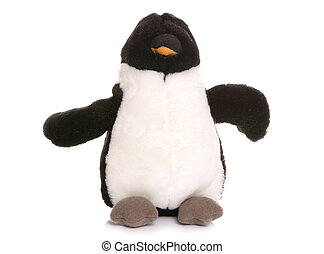 Penguin soft toy on white background