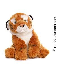 Tiger soft toy on white background