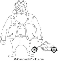 Color it Santa Claus Biker - Color it Santa Claus biker in...