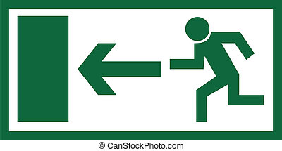 Emergency exit sign - Greem emergency exit sign isolated on...