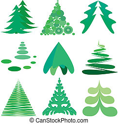 Pine tree icons - Nine different pine tree icons