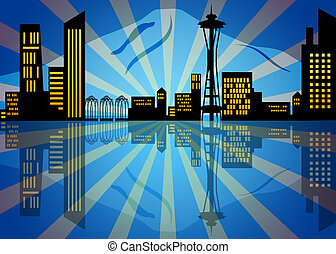 Reflection of Seattle City Skyline at Night