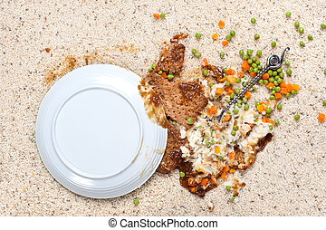 Spilled plate of food on carpet - A plate of food including...