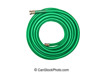 Green hose isolated on white - A new green coiled rubber...